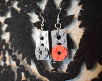 Handmade gray and red LEGO earrings