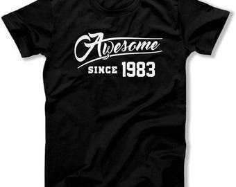 Funny Birthday T Shirt 35th Birthday Gift Ideas For Her Gifts For Him Bday Shirt Awesome Since 1983 Birthday Mens Ladies Tee DAT-1129