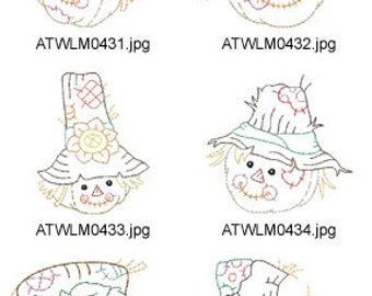 Scarecrow-Faces  ( 10 Machine Embroidery Designs from ATW ) XYZ17H