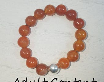 Cock Ring, Penis Ring, Male Ring, Stag, Bull , Cuck, Beaded Gemstones Carnelian Ring, Male Jewelry