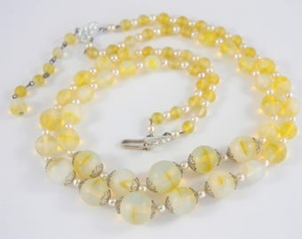 50s Lemon Yellow Necklace, HONG KONG Bead Necklace, Short Glass Bead Necklace, Vintage Double Strand Necklace, Frosted Glass Necklace