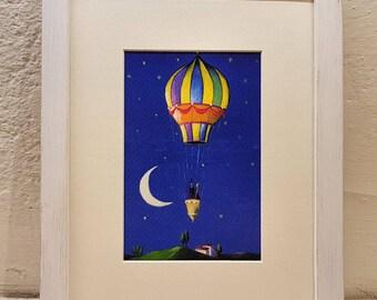 Hot air balloon, print with hot air balloon, hot air balloon and lovers