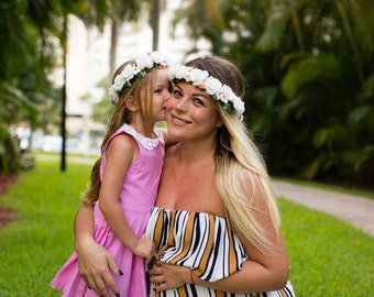 Mommy and Me Flower Crowns, flower headpiece, flower hair wreath, bridal Crown, bridal headpiece, flower girl headband, flower girl