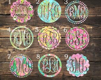 Lilly Pulitzer Monogram Decal / Custom Pattern, Size, Color, Frame, Border  / Car, Yeti, Rtic, Ozark Tumbler, Wall Sticker, Gift Under 5