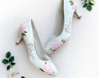 Pink Rose & Lace Pattern Hand-painted Custom Name Wedding Shoes