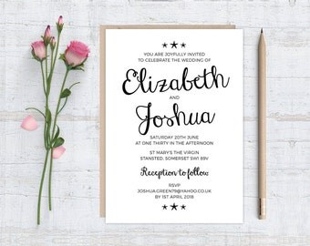 Printable (DIY) LITTLE STARFISH - Black & white - Wedding Invitation Stationery Set