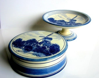Royal Delft / Pedestal Cake Plate / Cookie Jar / Jewelry Box / Fruit Bowl / Blue Delft / Hand Painted / Set Of Two / Blue & White / Holland