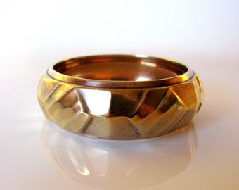 Swedish Modernist Brass Bangle Bracelet / Cuff Bracelet / Chunky / Textured / Wide Bracelet / Scandinavian / Geometric Design / Sweden / MCM