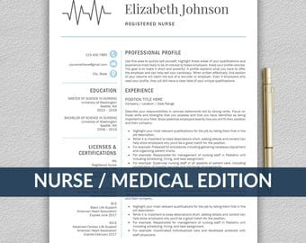 Nurse Resume Template for Word / Medical Resume Template | Nurse CV Template | RN Resume | Doctor Resume | Doctor CV | Resume Template