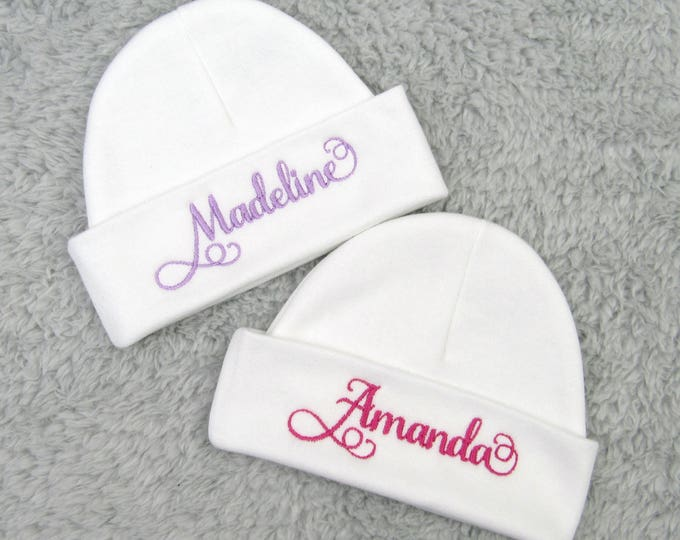 Personalized baby hat - micro preemie hat, preemie hat, newborn hat - baby girl shower gift, newborn gift newborn pictures, sip and see gift
