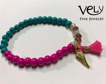 Crystal Bracelet with Tassel