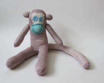 Tilly the Sock Monkey | Handmade, Soft Toy, Keep Sake, Birthday Gift, baby shower, new baby gift, travel mascot, children monkey toy