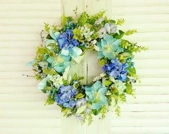 Summer Front Door Wreath, Hydrangea Wreaths, Aqua Blue Door Wreaths, Summer Wreaths, Blue Green Floral Wreaths, Front Porch Decor      W301