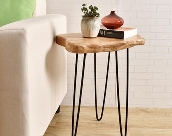 Cedar Wood Stump Large End Table Rustic Surface Side Table With 3-Leg Metal Stand  HW950-540