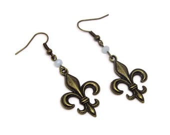 Earrings French Lily Bronze fleur-de-lis jewellery jewelry nostalgic Romantic antique gifts for women her long earrings