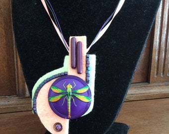 Dragonfly necklace / felt necklace / mixed media necklace / fiber necklace / handmade necklace / OOAK necklace / beaded necklace