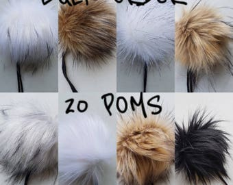 BULK ORDER - 20 POMS, choose your selection // Faux fur pom poms, handmade hat accessory, cruelty free fur, large pom poms, 5 inch