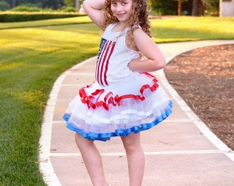 4th of July Tutu - Patriotic Tutu - Red White and Blue Tutu - Military Homecoming - Fourth of July Baby Girl - Fourth of July Outfit