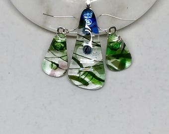 Necklace and Earring Set – Green, Purple, Blue & Pink Glass