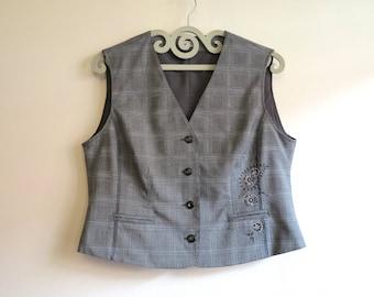 Grey Vest Grey Plaid Vest Womens Vest Steampunk Waistcoat Embroidred Vest Checkered Vest Plaid Extra Large Size