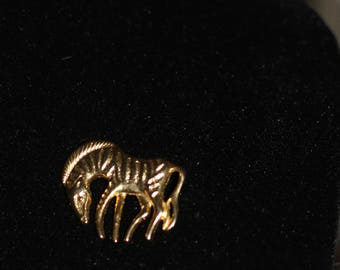 Gold Zebra Brooch