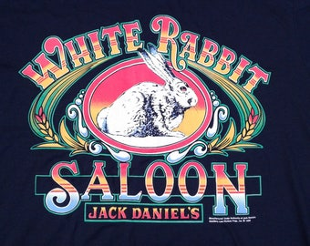 "Vintage 1992 Jack Daniel's ""White Rabbit Saloon"" t-shirt Novel Teez Made in Canada XL"