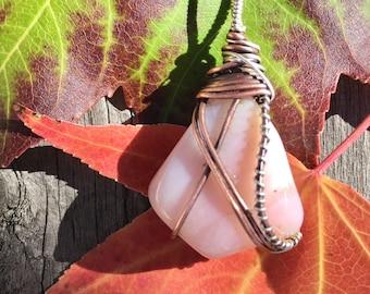 Pink Opal Necklace Sterling Pink Peruvian Opal Jewelry Bohemian Boho Chakra Energy Healing Reiki Wire wrapped