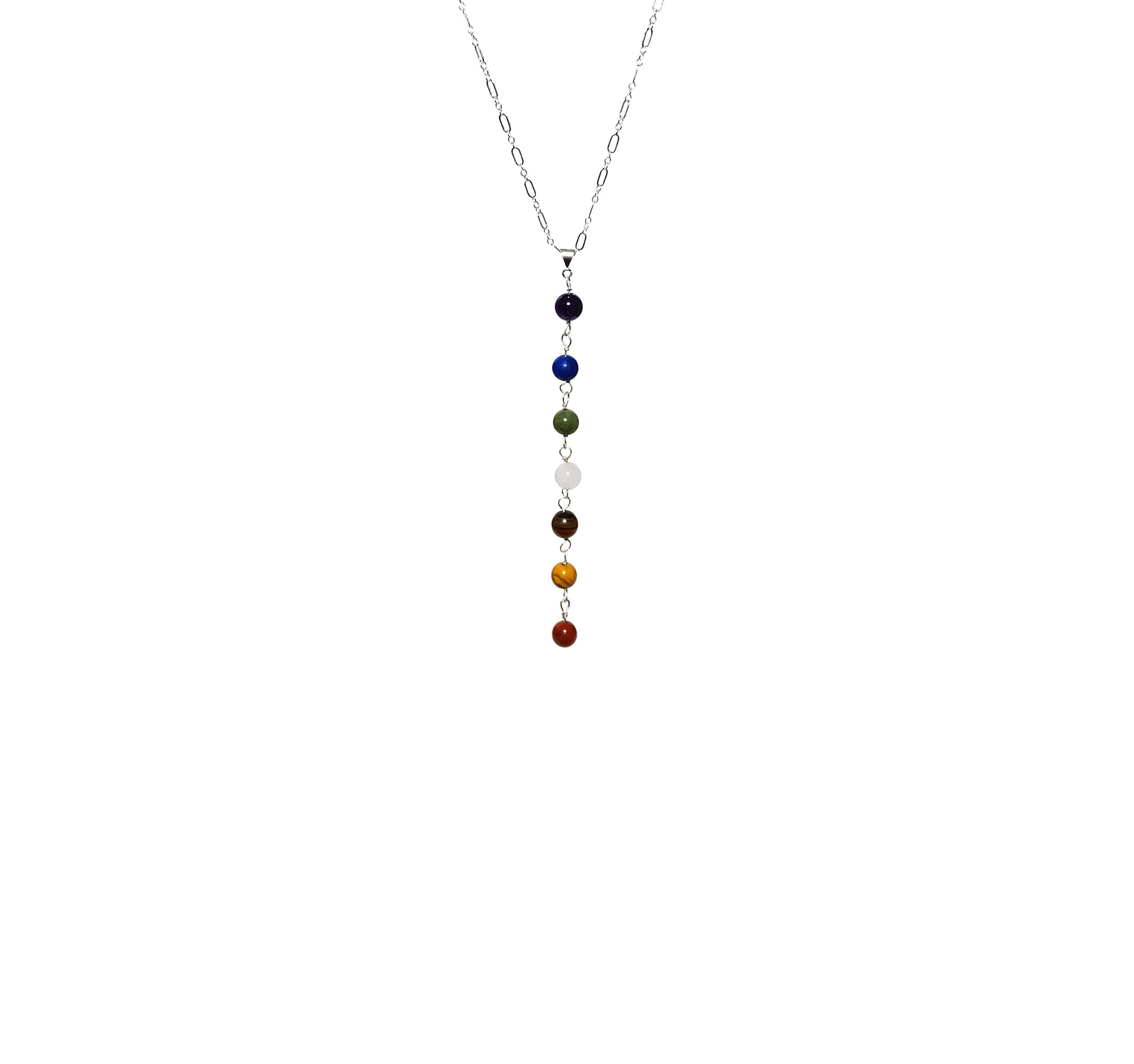 925 silver 7 chakra gemstone necklace sterling silver chain and 925 silver 7 chakra gemstone necklace sterling silver chain and links chakra balancing pendant meditation yoga gift gift for her mozeypictures Image collections