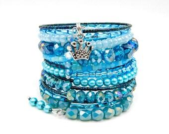 Blue wrap bracelet, memory wire bracelet, memory wire wrap bracelet, beaded wrap bracelet, blue beaded bracelet, crystal bracelet