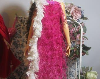 Handmade Doll Clothes. Hot Pink Fringed Dress with Boa, Fits 1/3 BJDs, Superdollfie, 62 cm bjds, Sale!