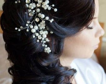 Bridal hairpiece Bridal HeadPiece Long Bridal Hair Vine Crystal long Vine Bridal Hair wreath wedding accessories hair vine prom Bridal Tiara