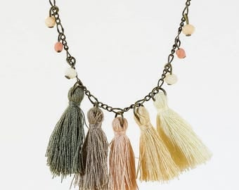 Tassels and Beads Necklace, Colorful Necklace, Trending Necklace, Tassels Necklace, Winter Necklace, Christmas Jewelry, Boho Necklace