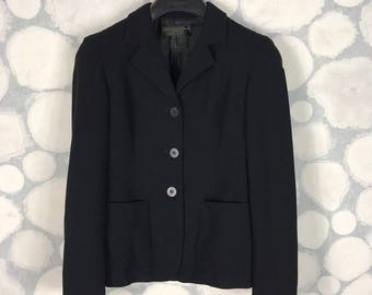 Vintage DKNY Blazer 3 Buttons Black Tailored Made In Italy