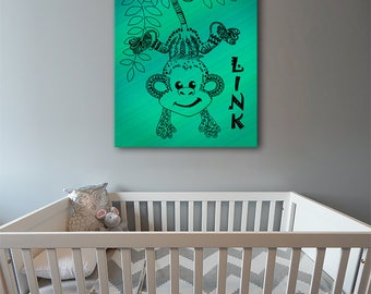 Monkey Canvas Wall Art Green with Personalized Name for Nursery or Kids Room, Zentangle design