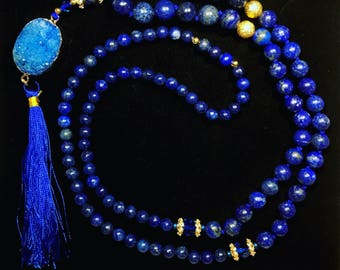 Lapis Lazuli mala with agate strangles, Swarovski crystals and gilded bead caps with cubic zirconia stones