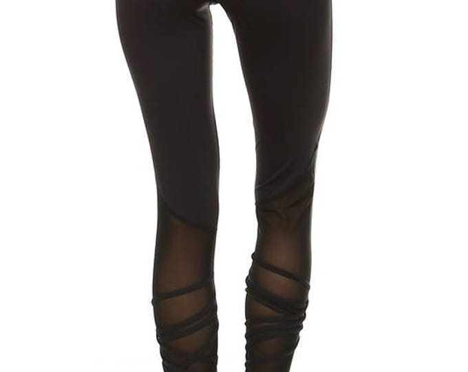 Featured listing image: Mesh Criss-Cross Ankle Leggings - Blk