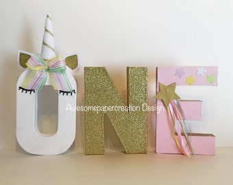 Unicorn letters, one letters,paper mache,8inches tall,unicorn party decorations,unicorn photo props,first birthday party decorations,