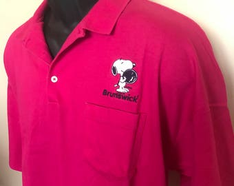 80s Snoopy Bowling Polo Vintage Shirt Brunswick Tee Peanuts Cartoon Charlie Brown Rugby Bowl League Ball Big Lebowski Dude Neon Pink USA XXL