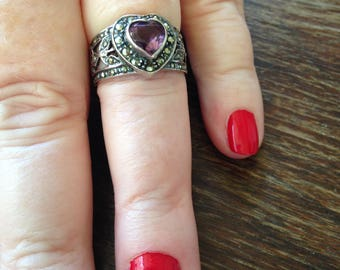 Sterling Silver Heart Shaped Amethyst and Marcasite Ring