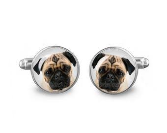 Pug Cuff Links Dog Cuff Links 16mm Wedding cufflinks Gift for Men Groomsmen Novelty Cuff links Fandom Jewelry