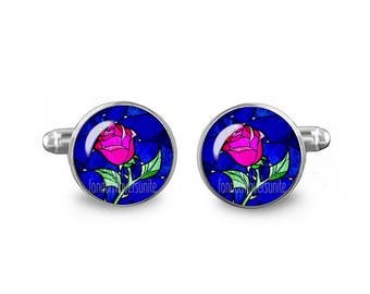 Enchanted Rose Cuff Links 16mm Beauty and the Beast Cufflinks Novelty Gift for Men Groomsmen Fandom Jewelry