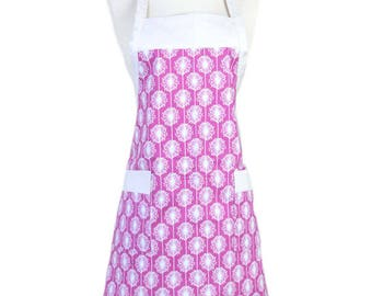 Womens Cute Pink Fuchsia White Dandelions Apron Traditional Kitchen Chef with Pockets and Adjustable Neck