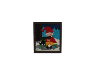 Charming vintage retro Christmas Wall hanging Board with hand-embroidered santa / elf / gnome with his cat. Made in Sweden Scandinavian.