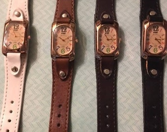 High Quality Genuine Leather Watches with Quartz Movement - Choose from Light Brown, Med Brown, Black or White