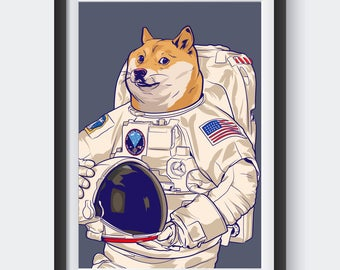 Doge meme poster Astronaut Dog internet modern pop art design