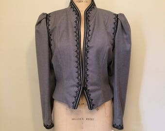 1980's Does Victorian Grey and Black Soutache Braid High Neck Blazer with Leg of Mutton Sleeves | Size Medium Large 12