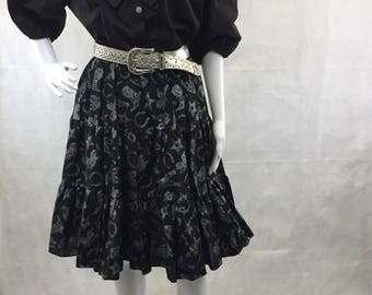 Country Western Black and Silver Square Dance Tiered Skirt with Matching Blouse Size Large 1980 | Malco Modes | Boot Scootin' | Rockabilly
