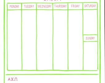 ALPHA CHI OMEGA Weekly Schedule Notepad