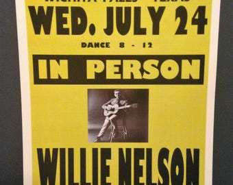 Willie Nelson Vintage Concert Poster Print Reproduction