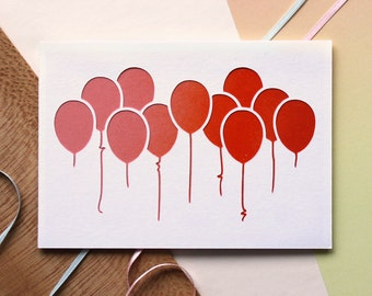Cutout Spray Paint Balloons Card - Congratulations Card, Anniversary Card, Happy Birthday Card, Cut Out Card, Pink and Orange, Colour Fade